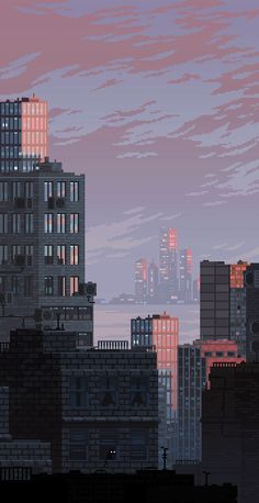 Russian artist best known as Waneella creates pixel art works. Here are some gif pictures of urbanscapes from her new series Pixel Cities! Aesthetic Backgrounds, Aesthetic Iphone Wallpaper, Aesthetic Wallpapers, Retro Wallpaper Iphone, Iphone Wallpapers, Aesthetic Art, Aesthetic Pictures, Aesthetic Anime, Aquarius Aesthetic