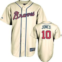 Chipper Jones Jersey: Adult Majestic Alternate Ivory Replica Atlanta Braves Jersey by Majestic. $99.99. Chipper Jones Jersey: Adult Majestic Alternate Ivory Replica Atlanta Braves Jersey