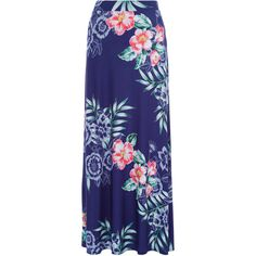 Monsoon Marissa Print Maxi Skirt ($68) ❤ liked on Polyvore featuring skirts, long jersey skirt, blue jersey, blue floral skirt, flower print skirt and print maxi skirt