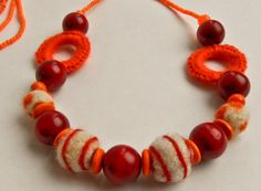 Necklace - Red / Orange Red Things, Orange Things, Orange Necklace, Beaded Necklace, Handmade, Jewelry, Beaded Collar, Hand Made, Jewlery