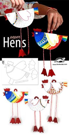 Cute and fun printable hen puppet. Great craft to go with a chicken lesson (and the new Hens for Friends Cute and fun printable hen puppet. Great craft to go with a chicken lesson (and the new Hens for Friends book!) craft for classroom PAPER HENS Kids Crafts, Easter Crafts, Projects For Kids, Diy For Kids, Craft Projects, Arts And Crafts, Preschool Crafts, Creative Crafts, Craft Ideas