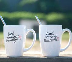 Good morning Beautiful & Handsome coffee mugs his & hers