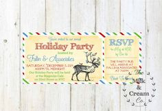 Vintage Holiday Ticket Style invitation  by themilkandcreamco Vintage Holiday Ticket Style invitation - Christmas Party Invite - Reindeer Invitation- Printable File Invite, Winter Deer Invite