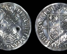 Tudor English Antique Coin Genuine Elizabeth I Silver Milled Groat 1560 - 1566, British, Elizabethan