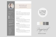 Resume Template + Cover Letter WORD - Perfect for DIY job seekers or design professionals. Template Powerpoint Free, Resume Template Examples, Resume Template Free, Creative Resume Templates, Templates Free, Cv Examples, Printable Templates, Design Templates, Cover Letter Template