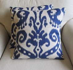 Basement Sofas - Ikat Indigo Blue Pair of Pillow Covers 20x20 inches