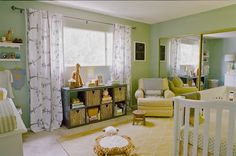 Where The Wild Things Are, Nursery, green, yellow, gender neutral nursery.
