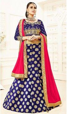 Deep Blue Color Brocade A Line Style Party Ghagra Choli | FH494675812 #heenastyle, #designer, #lehengas, #choli, #collection, #women, #online, #wedding , #Bollywood, #stylish, #indian, #party, #ghagra, #casual, #sangeet, #mehendi, #navratri, #fashion, #boutique, #mode, #henna, #wedding, #fashion-week, #ceremony, #receptions, #ring , #dupatta , #chunni , @heenastyle , #Circular , #engagement ,#treditional