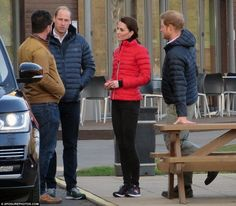 Catherine joined Prince William and Prince Harry at St Mary's university to film a warm up and running for their mental health charity. They met with DIY SOS presenter Nick Knowles who is wor…