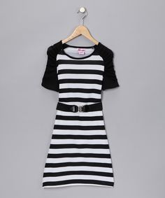 Pink Angel Black Stripe Belted Dress $14.99