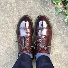 """Reposting @sthkzn: ... """"Alden @studio.cbr さんで購入した中古靴、一応履きおろし。 皺をまっすぐ入れたい派なのでそこはちょっと…なんですが、何よりモディファイドラストを試すことができました。 他の靴とホールド感が違って新鮮です。 #alden #alden56201 #56201 #modifiedlast #cordovan #shoes #mensshoes #sotd #shoesoftheday #オールデン #モディファイドラスト #コードバン #紳士靴 #革靴"""""""