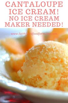 My family begs me to make this Homemade Cantaloupe Ice Cream all year round! This refreshing Ice Cream is no churn ~ meaning it doesn't need an ice cream maker! So easy and delicious, YUM! This is great for parties too! Cantaloupe Recipes, Fruit Recipes, Snack Recipes, Snacks, Melon Recipes, Trim Healthy Recipes, Delicious Recipes, Easy Homemade Ice Cream, Recipes