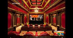 Lately we've been featuring some outrageous home theaters and these are no exception. Here are some more pictures of lavish, opulent home theaters. We definitely love the red/gold theme all these home theaters have. Basement Movie Room, Movie Theater Rooms, Cinema Room, Basement Gym, Home Theaters, Rich Home, Home Theater Design, Home Theater Projectors, Mansions For Sale