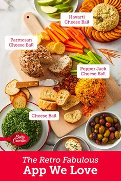Retro-Fabulous Cheese Balls Are the App Everyone Has Always Wanted Bagel Chips, Havarti Cheese, Types Of Cheese, What Recipe, Cheese Ball Recipes, Pepper Jack Cheese, Cheese Appetizers, Creamy Cheese, Christmas Foods