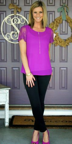 41 Hawthorne McQue lace sleeve blouse...love this color!