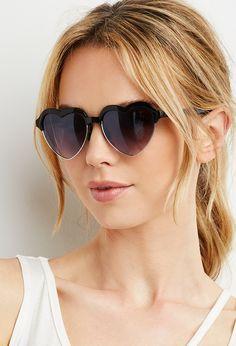 Half-Rim Heart Sunglasses | Forever 21 - 1000167106