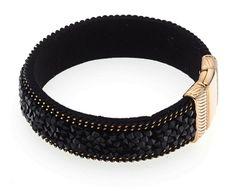 Armband mit Steinen, Swarovski http://www.thebungalow.ch/jewelry/armbaender/schwarzes-armband-mit-steinen/a-1182/