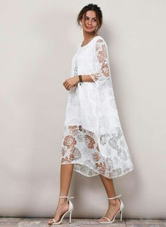 Solid Lace Sleeves Midi Dress - White XXL Source by floryday dresses fashion Spring Dresses, Day Dresses, Evening Dresses, Casual Dresses, Fashion Dresses, White Midi Dress, Midi Dress With Sleeves, Lace Dress, White Fashion