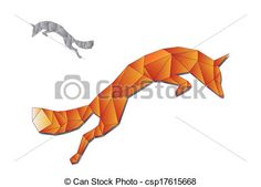 Vector - Jumping fox made of triangles - stock illustration, royalty free illustrations, stock clip art icon, stock clipart icons, logo, line art, EPS picture, pictures, graphic, graphics, drawing, drawings, vector image, artwork, EPS vector art
