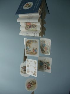 Peter Rabbit Mobile. I totally wish I had seen this idea when I was decorating the babies' nursery!