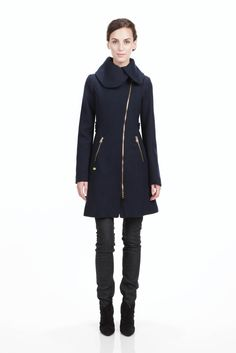 """Continuing my #asymmetrical love affair. Wool-blend knee-length #coat with enough exposed #zippers to satisfy my inner pseudo-rock-star. (And my practical side that says, """"Look, zippers keep the cold out better than buttons do."""")"""