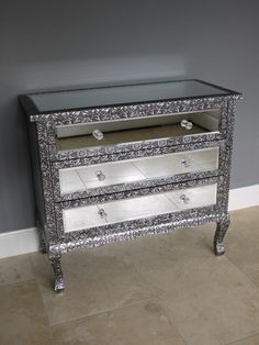 Blackened Silver Metal Embossed Mirrored 3 Drawer Chest Of Drawers Home Bar Furniture, Hallway Furniture, Mirrored Furniture, Metal Furniture, Handmade Furniture, Mirror Chest Of Drawers, Chest Of Draws, Metal Mirror, Wooden Chest