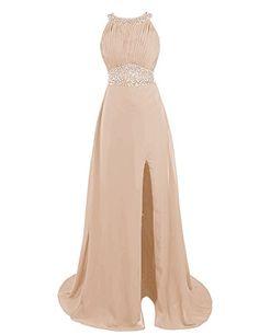 Dressystar Beaded Halter Bridesmaid Prom Dresses with Sparkling Embellished Waist