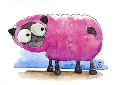 ACEO Original watercolor painting whimsical farm animal purple sheep #IllustrationArt