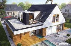 Haus moderne Häuser von Pracownia Projektowa ARCHIPELAG Your Style, Your Budget Tired of ogling the House Extension Design, Roof Extension, House Extension Plans, Extension Ideas, Bungalow Extensions, House Extensions, Roof Design, Exterior Design, Flat Roof House