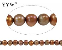DIY Making Jewelry Wedding Women Baroque Cultured Freshwater Pearl Beads, Oval, reddish-brown, 8-9mm Sold Per 15.3 Inch Strand