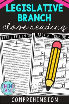 Ensure understanding with this Legislative Branch Close Reading Comprehension Challenge. Students will examine the reading passage multiple times to complete each of the six tasks using the non-fiction, informational text. Great addition to your U.S. Constitution unit. #Constitution #ThinkTank #CivicsandGovernment #ReadingComprehensionTasks #ReadingPassages #7thgrade #5thgrade #6thgrade #CloseReading #MiddleSchool #UpperElementary #LegislativeBranch 4th Grade Ela, 4th Grade Science, 5th Grade Reading, Social Studies Classroom, Social Studies Activities, History Activities, Holiday Activities, Classroom Activities, Close Reading