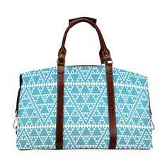 triangles in triangles pattern wht electric blue Classic Travel Bag (Model 1643) Remake