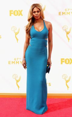 Laverne Cox in Calvin Klein Collection at the 2015 Emmys