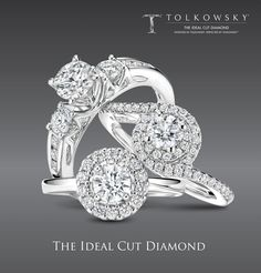 Tolkowsky Diamond Engagement Rings in 14K White Gold available through Kay Jewelers Stores in the US and online at www.kay.com