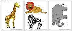 Colored Safari animals