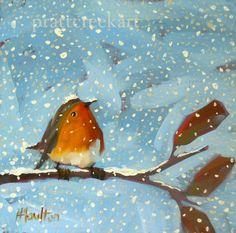 robin on leafy branch on snowy day no 3 original by prattcreekart, $48.00