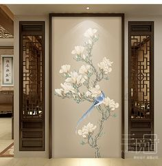 Fine Brushwork Chinoiserie Birds and Flowers Wallpaper Wall Mural, Oritental Chinoiserie Birds&Flowers for Wall Porch Corridor Wallpaper Flores Wallpaper, Wallpaper Wall, Chinoiserie Wallpaper, Glass Design, Door Design, House Design, Partition Design, Open Wall, Cleaning Walls