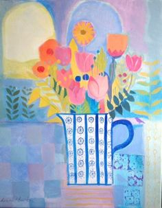 Original Acrylic Painting on Canvas 'Cool Interior, Hot Pink Flowers'. Signed