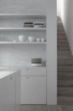 Marble and white. Kitchen Doors, Kitchen Shelves, Kitchen And Bath, Open Kitchen, Open Shelves, Recessed Shelves, Nice Kitchen, Cupboard Doors, Minimal Kitchen