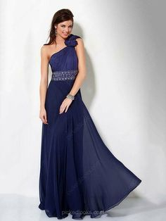 Chiffon One Shoulder Floor-length A-line Beading Ball Dresses -NZD$168.79