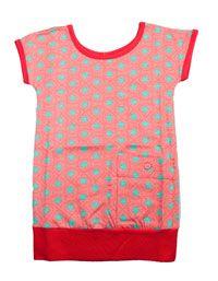 Ideetje voor zomer-outfit  ( Kik*Kid - Koraalkleurige tuniek met muntkleurige sterren )