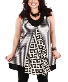 Look at this Aster Black & White Greek Key Sleeveless Tunic - Plus on #zulily today!