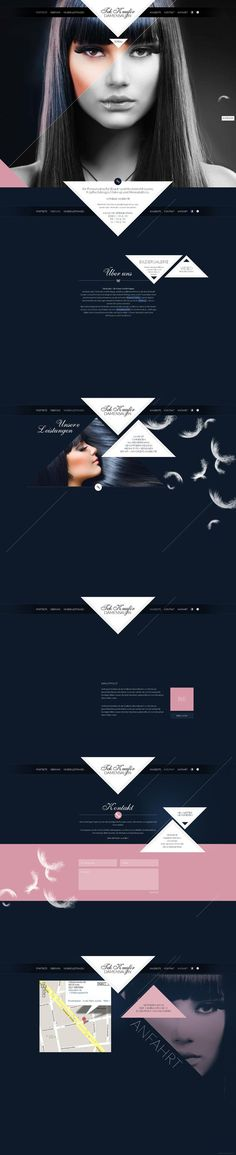 Im not a huge fan of negative space, but in this design the negative space work quite well. it gives the design more elegance. AR. More Design Inspiration, Website Layout, Website Design Layout, Ux Webdesign, Www Websitedesign Hamburg D, Userinterface Website, Web Design Layouts, Design Web, Userinterfac Website Hair Studio Site Design Inspiration Website design layout. Inspirational UX/UI design sample. Visit us at: www.sodapopmedia.com #WebDesign #UX #UI #WebPageLayout #DigitalDesign #Web…