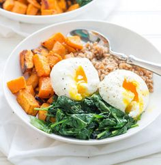 Garlic and curry add a kick of flavor while farro serves as a healthier carb alternative in this sweet potato breakfast bowl.