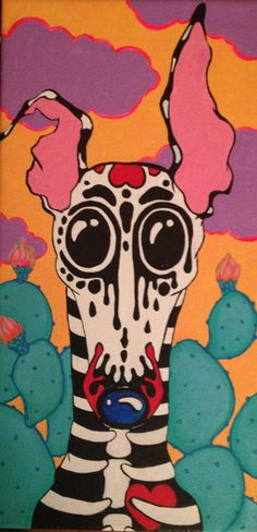 Day of the Dead greyhound OOAK original painting by Courtsart, $140.00