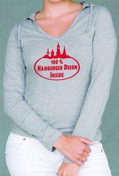 HAMBURG 100 PROZENT HH DEERN INSIDE SEXY LADIES HOODY KAPUZEN LANGARM T-SHIRT!