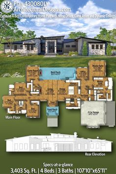 House Plan 430080LY gives you 3400 square feet of living space with 4 bedrooms and 3 baths. AD House Plan #430080LY #adhouseplans #architecturaldesigns #houseplans #homeplans #floorplans #homeplan #floorplan #houseplan New House Plans, Dream House Plans, Modern House Plans, Ceiling Plan, Sloped Ceiling, Plumbing Drawing, Floor Plan Layout, Ceiling Treatments, Roof Detail