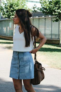 #outfit wearing denim skirt, white top and suede bag. More on: http://www.littleblackcoconut.com/2016/07/denim-skirt.html#more