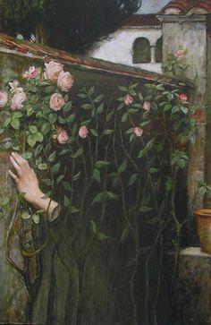 Charlotte Bracegirdle - The Soul of the Rose, acrylic on print, 2010 inspired by John William Waterhouse - The Soul of the Rose, 1908 John William Waterhouse, Powerful Art, Collage Art, Surrealism, Charlotte, Prints, Painting, Inspiration, Image