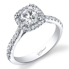 Coast Cushion Halo Prong Set Diamond Engagement Ring 14K White Gold wi · LC5256 · Ben Garelick Jewelers